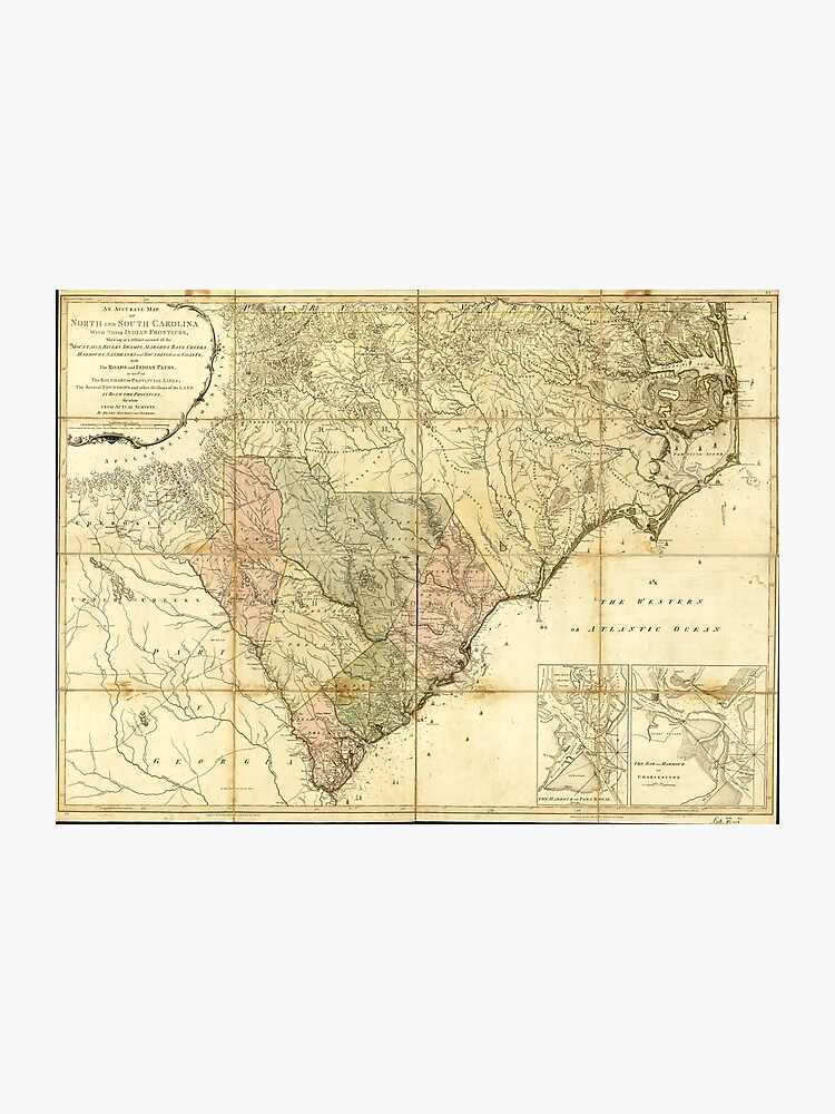 photo about Printable Map of South Carolina called North South Carolina Map (1775) Photographic Print