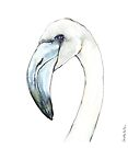 Flamingo Portrait in Blue and Ivory by Kendra Shedenhelm
