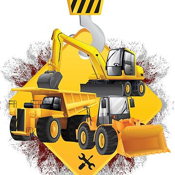 'Yellow Trucks and Diggers' Awesome Truck Gift by leyogi