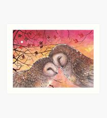 Owl Cuddle Art Print