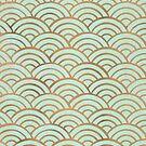 Japanische Seigaiha Wave - Mint & Kupfer Palette von Cat Coquillette