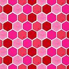 Hexagon-Bienenwaben-Muster - Valentine Palette von Cat Coquillette