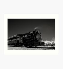Flagg Coal Steam Engine BW IR 1 Art Print