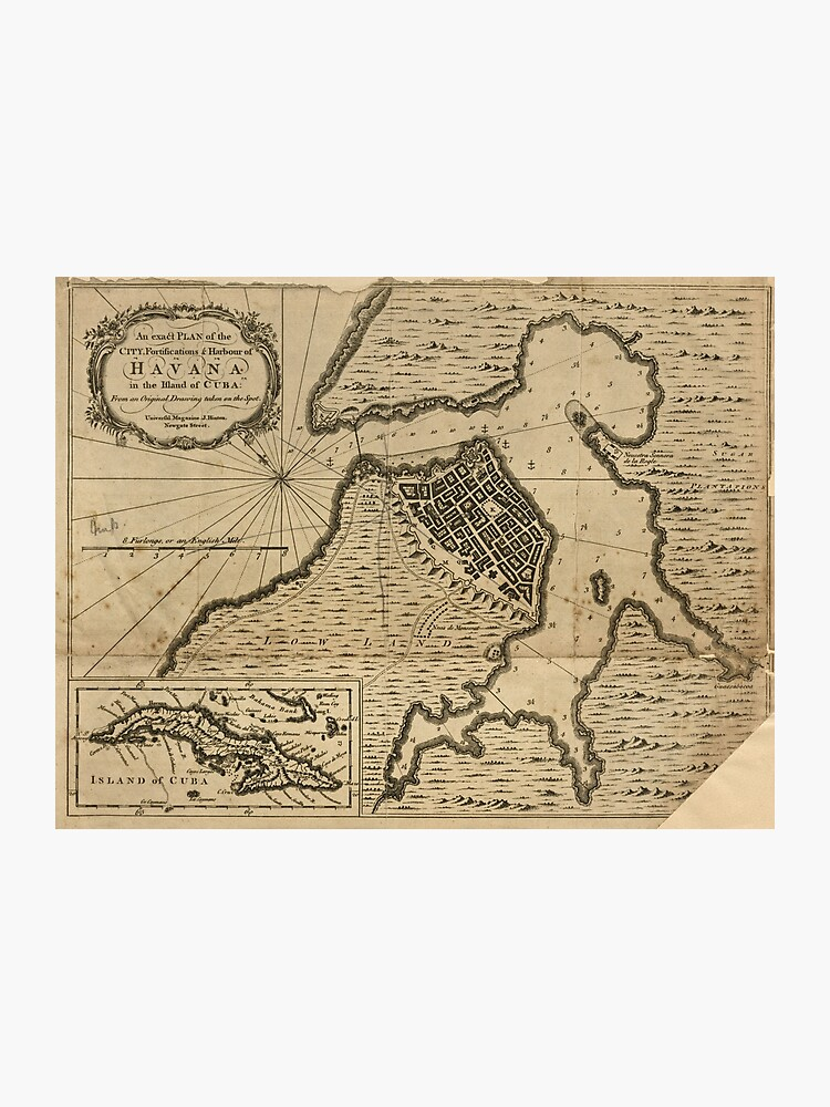 picture relating to Printable Map of Havana named Map of Havana, Cuba (1762) Photographic Print