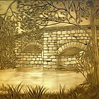 A sepia painting of my pencil drawing of Fingle Bridge, an Old Stone Packhorse Bridge in Dartmoor 17th century by Dennis Melling