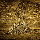 A digital painting of my pencil drawing of A Steam Tugboat by Dennis Melling