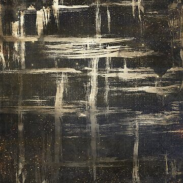Black and Gold Abstract Modern Brush Strokes by TeeVision