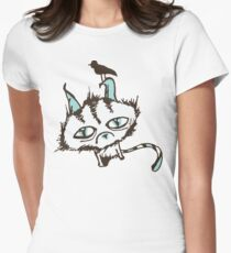 Teal Sky Kitty Women's Fitted T-Shirt