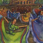 Spirit of Jalisco Mexico Folkloric Dancers Mariachi Band Drawing by Candace Byington