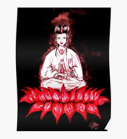 KUAN YIN - seated on Red Lotus Poster