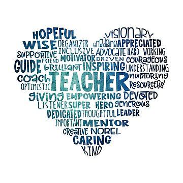 Teacher Word Cloud Heart in Blue by jitterfly