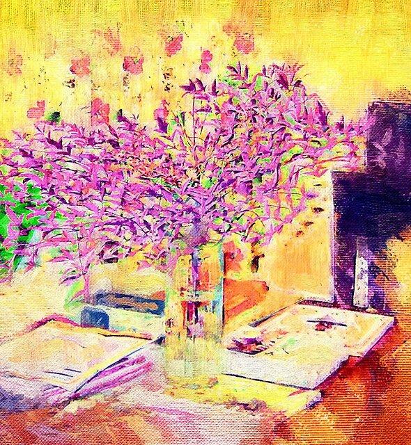 A flower arrangement on living room table. by Albert