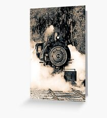 Flagg Coal Steam Engine Blow Out - Duotone Greeting Card