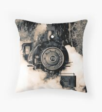 Flagg Coal Steam Engine Blow Out - Duotone Throw Pillow