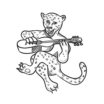 Happy Leopard Playing Acoustic Guitar Cartoon by patrimonio