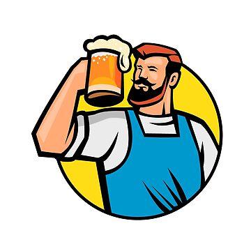 Bearded Hipster Toasting Beer Mug Circle Mascot by patrimonio