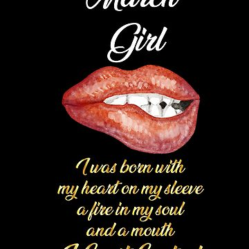 Funny Birthday March Girl Black Girl Lips by with-care