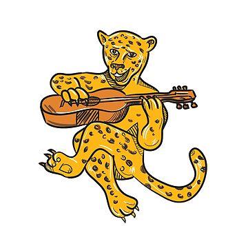 Happy Jaguar Playing Acoustic Guitar Cartoon by patrimonio