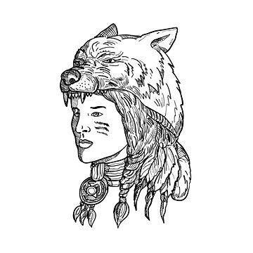 Native American Woman Wearing Wolf Head by patrimonio