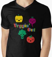 Veggin' Out (colored type) dark Men's V-Neck T-Shirt