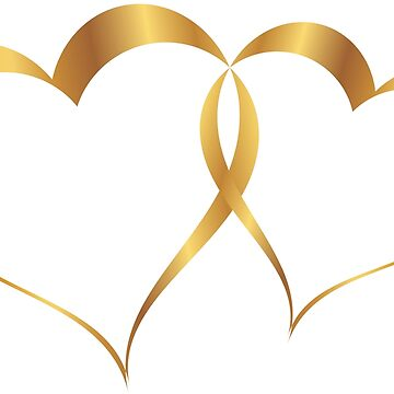 Golden double heart wedding anniversary by MarlowLoom