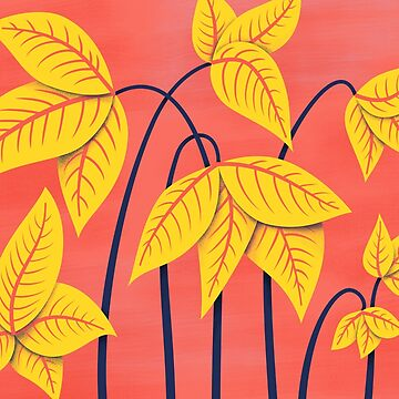 Abstract Flowers Geometric Art In Vibrant Coral And Yellow by azzza