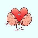 Cartoon heart getting rid of its brain costume by Zoo-co