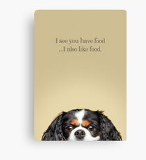 Funny and Hungry Cavalier King Charles Spaniel Canvas Print