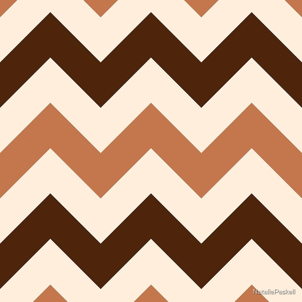Wide Retro Zigzag Pattern Cream Rust Brown by NataliePaskell