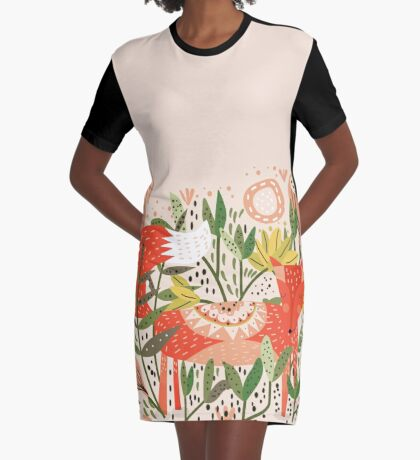 Happy Fox Tale Graphic T-Shirt Dress