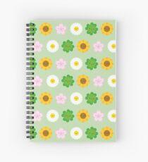 Kawaii Spring Flowers (Green) Spiral Notebook