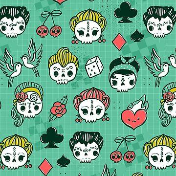 Kawaii rockabilly sugar skulls. by kostolom3000