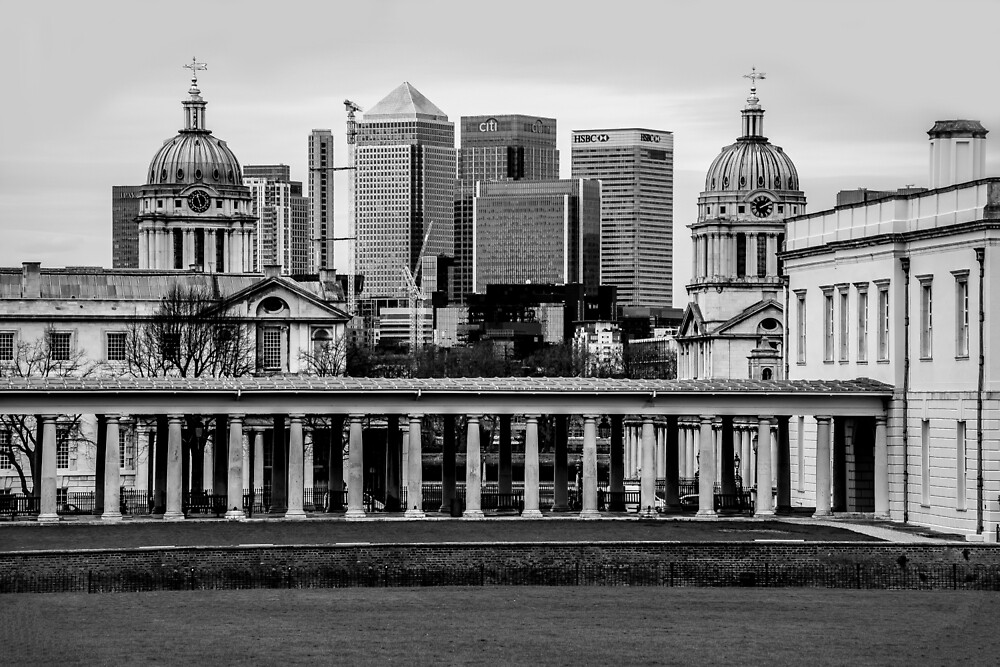 Old Royal Naval College, Greenwich set against Canary Wharf, London by Luke Farmer