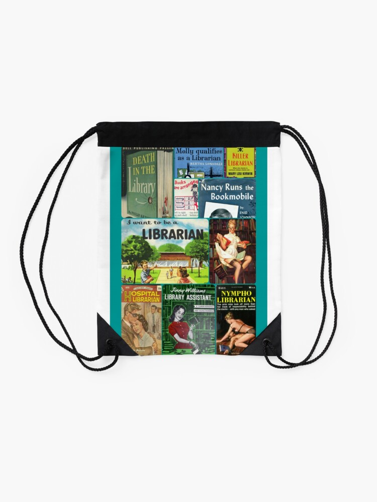 Alternate view of Librarians on Books Drawstring Bag