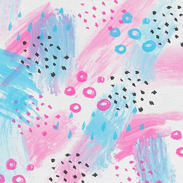 Pink And Blue Abstract Geometric Brushstrokes by TeeVision