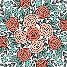 Coral and Teal Roses Repeating Pattern, Floral by JordynAlison