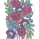 Retro Loose Florals, Pink and Purple Flowers by JordynAlison