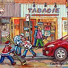 SHOPS AND STORES WELLINGTON STREET MONTREAL WINTER SCENE HOCKEY ART by Carole  Spandau