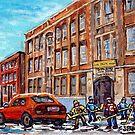 BARON BYNG HIGH SCHOOL RUE ST URBAIN MONTREAL ART WINTER SCENE HOCKEY ART by Carole  Spandau