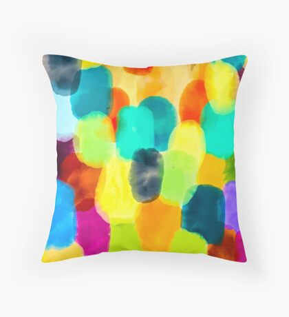 Watercolor Thumbprints Throw Pillow