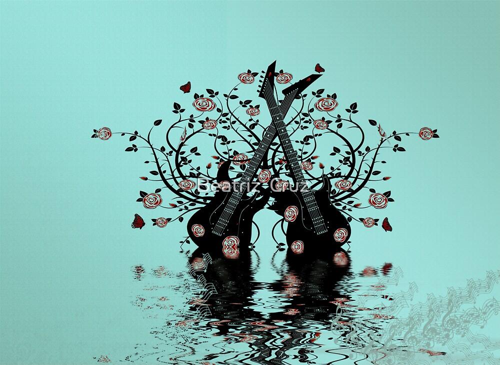 Guitars & Roses ~ Teal by Beatriz  Cruz