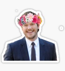 Chris Pratt with a flower crown Sticker