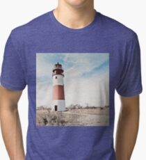 Sankaty Head Lighthouse on the island of Nantucket MA Tri-blend T-Shirt