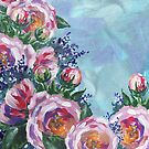 Impressionistic Flowers Pink on Teal Blue by Irina Sztukowski