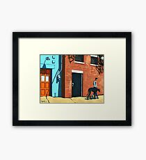 Woman Walking Dog on City Street Framed Print