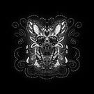 Belgian Malinois - Sugar Skull- Grayscale by k9printart