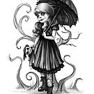 Alysin - Goth Girl and Dolly by DianaLevinArt