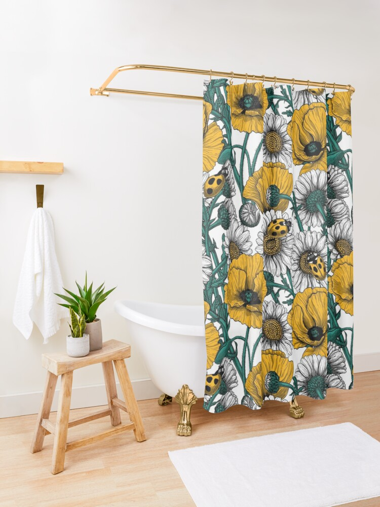 Alternate view of The meadow in yellow Shower Curtain
