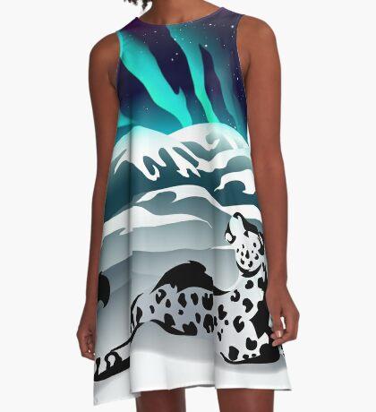 Snow Leopard Aurora A-Line Dress