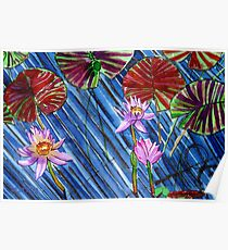 C o l o u r s of Blooms in the Cool Bluish Pond Poster